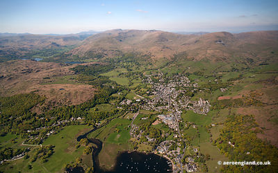 Ambleside Lake District Cumbria England UK Panoramic wide angle aerial photograph