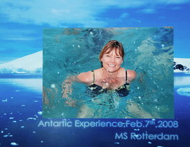 Kathy swimming in Antarctica