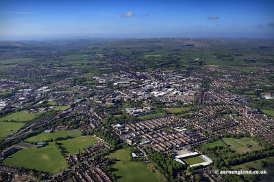 aerial photograph of Bury Greater Manchester UK