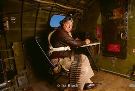 A veteran inside the radio compartment of B-17