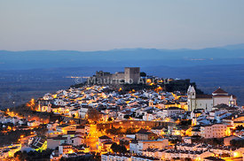 The historical village of Castelo de Vide at twilight. Alentejo, Portugal