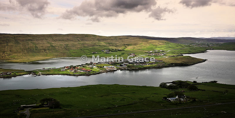Looking east over Weisdale Voe to the village of Hellister and Loch of Hellister behind, Central Mainland, Shetland - 2:1 format panorama