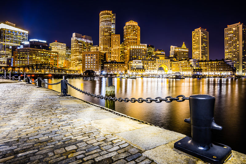 Boston Harbor Skyline at Night Picture