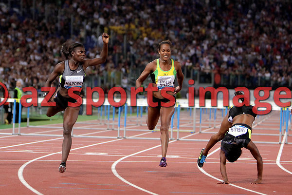 2012 Rome Golden Gala - Rome Diamond League 100 Metres Hurdles - W. Dawn Harper USA 12.66 sec. wins the race 2nd place Kellie Wells USA 12.67 3rd place Brigitte Foster-Hylton JAM 12.78