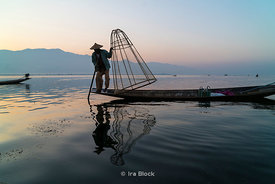 Intha fishermen on Inle Lake, a freshwater lake located in the Nyaungshwe Township of Taunggyi District of Shan State, part of Shan Hills in Myanmar (Burma).