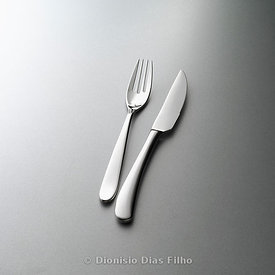 Stainless steel knife and fork, modern style, vertical in grey background