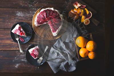 Blood orange & corn flour ricotta cake
