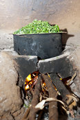 Boiling greens on an open fire to make a meal, Kenya.