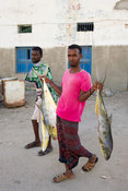Fishermen with their catch, Berbera, Somaliland, Somalia