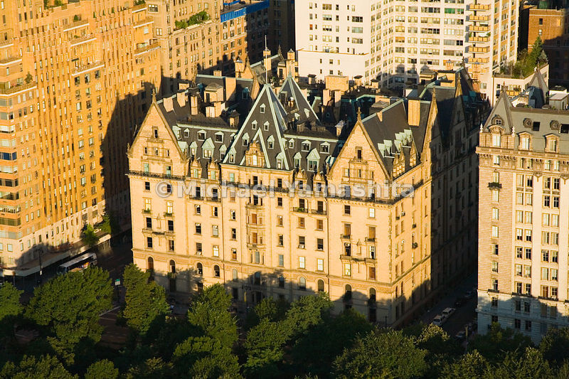 Designed by the same architect who built the Plaza Hotel, the Dakota is across from the Central Park Lake and Strawberry Fields - a location once thought to be as remote as the Dakota territory.  Manhattan, New York City.