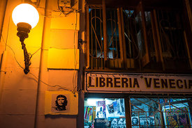 A poster of Che Guevara on wall in Havana, Cuba.