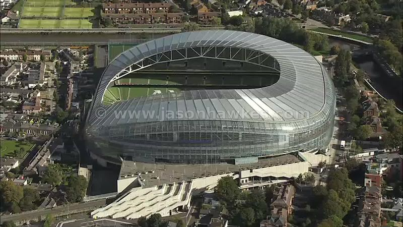 Aerial footage of the Aviva Stadium, Dublin, Ireland