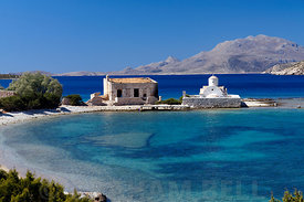 Alimnia Island and Aghios Minas church. Situated between Chalki and  Rhodes, Dodecanese Islands, Greece.