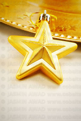 Gold christmas star with copy space