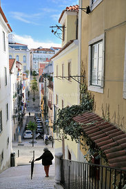 The narrow streets of the traditional district Bairro Alto. Lisbon, Portugal