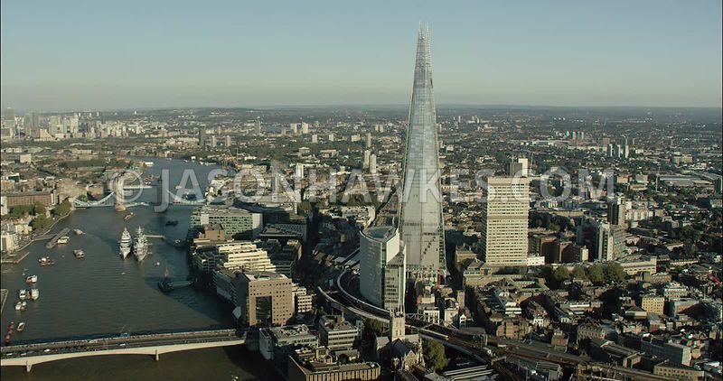 London Aerial Footage of The Shard and Tower Bridge.