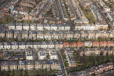 Aerial view of  North London, Belsize Park residential streets