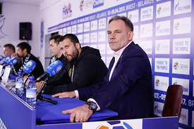 Stojanche Stoilov and Sinisa Ostoic during the Final Tournament - Final Four - SEHA - Gazprom league, Press conference in Brest, Belarus, 06.04.2017, Mandatory Credit ©SEHA/ Uros Hočevar