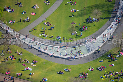 Aerial view of the Diana Memorial Fountain