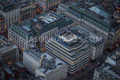Aerial view of London, Regent Street and Haymarket at St James's.