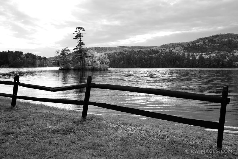 IVY ISLE LAKE LUZERNE ADIRONDACK MOUNTAINS BLACK AND WHITE
