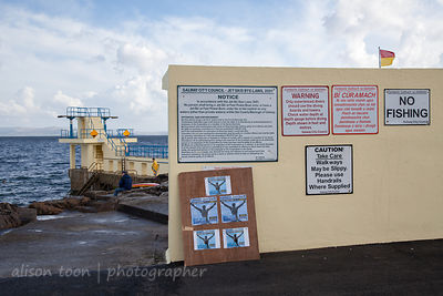 Bilingual signs for swimmers, Salthill, Ireland