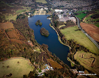 aerial photograph of Trentham Gardens  Stoke-on-Trent, Staffordshire UK