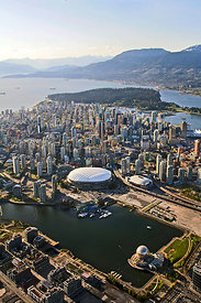 Vancouver BC Place and Telus Science World Aerial Cordes