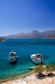 tourist boats, spinalonga island, elounda crete, Greece.
