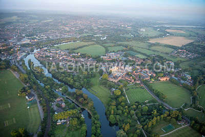 Aerial view of Eton College and playing fields.