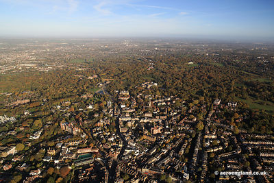 aerial photograph of Heath St Hampstead London NW3 6UG showing Hampstead High St, London NW3 1QH , University College School Junior Branch 11 Holly Hill, London NW3 6QN , Flask Walk, NW3 1HE  , New End Primary School  , New End, Greater London NW3 1JD and Gayton Rd, London NW3 1TU