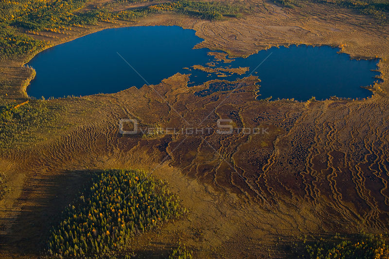 Aerial view of peat wetlands and lakes, Laponia / Lappland , Finland