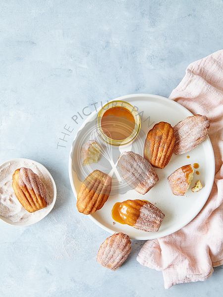 Cinnamon Sugar Madeleines with caramel dipping sauce