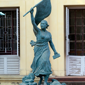 A statue of Liberty stands outside outside the museum in Chandannagar, originally the home of Joseph François Dupleix who was appointed governor of the city in 1730