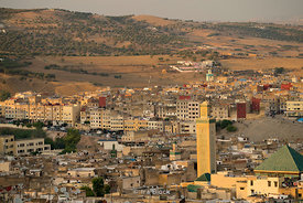 A view of the medina and Zaouia de Moulay Idriss in Fes, Morocco.