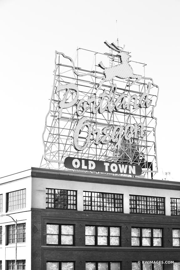 WHITE STAG SIGN OLD TOWN PORTLAND OREGON BLACK AND WHITE VERTICAL