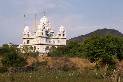 Distant view of beautiful Gurudwara Singh Sabha Sikh temple, Pushkar, Rajasthan, India