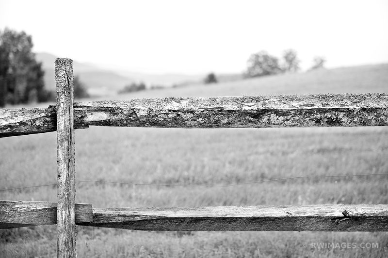 OLD WOODEN FENCE RURAL VERMONT BLACK AND WHITE