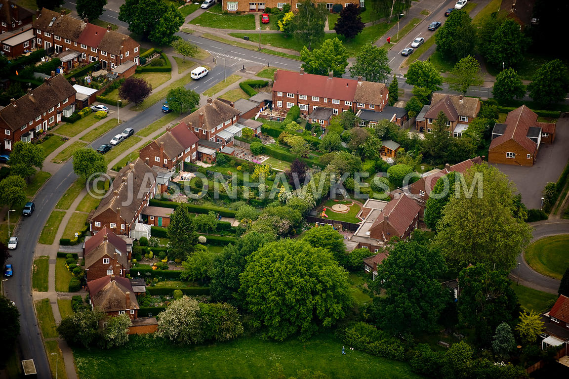 Aerial View Houses Welwyn Garden City Hertfordshire Jason Hawkes