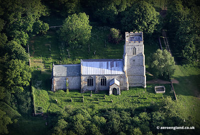 aerial photograph of St Margarets medieval church in Felbrigg Norfolk England UK