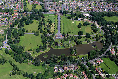 aerial photograph of Queens Park Crewe Cheshire Great Britain  UK