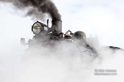 Nevada Northern Railway #93 shrouded with steam
