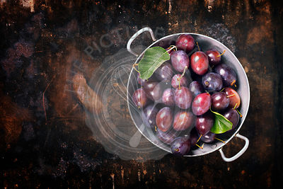 Plums in a bowl on a rural background. Fresh bio fruits