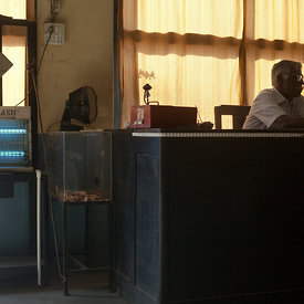 The cashier in the Indian Coffee House in Nagpur, India