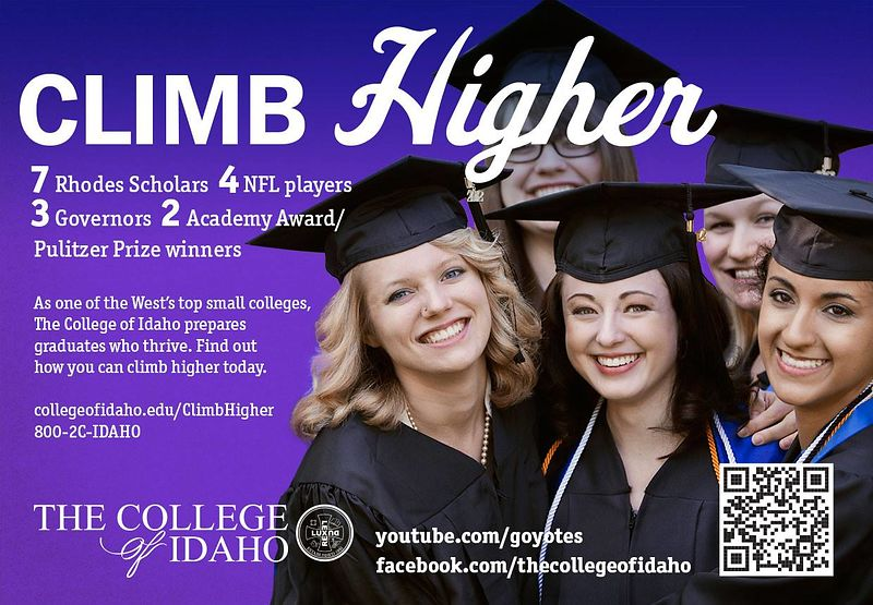 "The College of Idaho's ""Climb Higher"" ad, Boise airport"