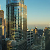 View looking northeast of downtown Chicago including the Trump International Tower, Chicago, Illinois, USA