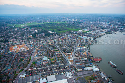 Aerial view over Greenwich, London