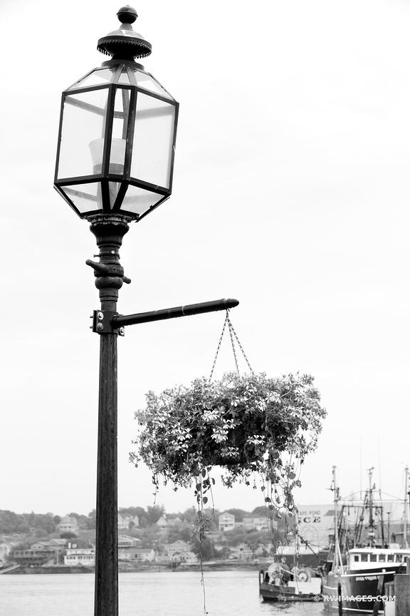 GAS STREET LAMP GLOUCESTER HARBOR CAPE ANN MASSACHUSETTS BLACK AND WHITE VERTICAL