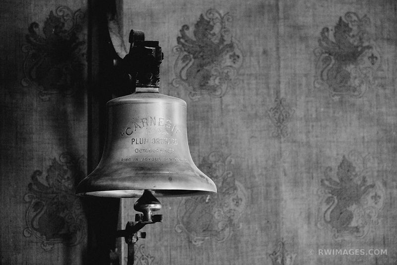 GOOD TIMES BELL OVER PLUM ORCHARD MANSION INTERIOR CUMBERLAND ISLAND GEORGIA BLACK AND WHITE