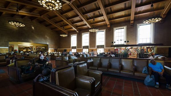Wide Shot: Waiting In Union Station's Central Hall (Motion)